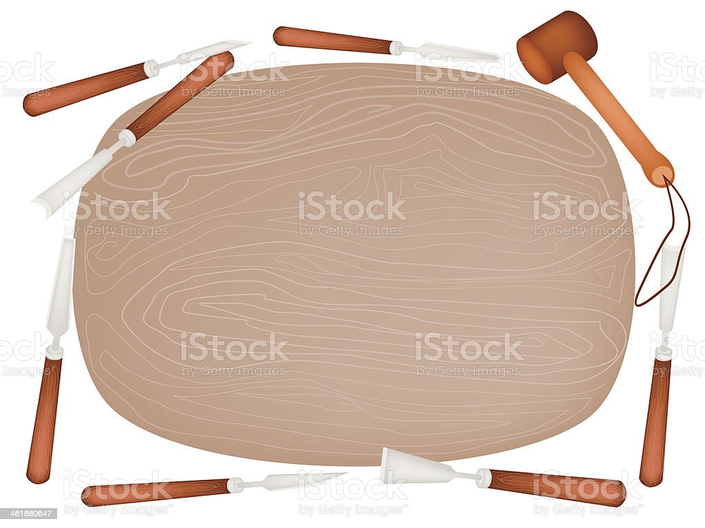 Carving Tools with Wooden Plank on White Background royalty-free stock vector art