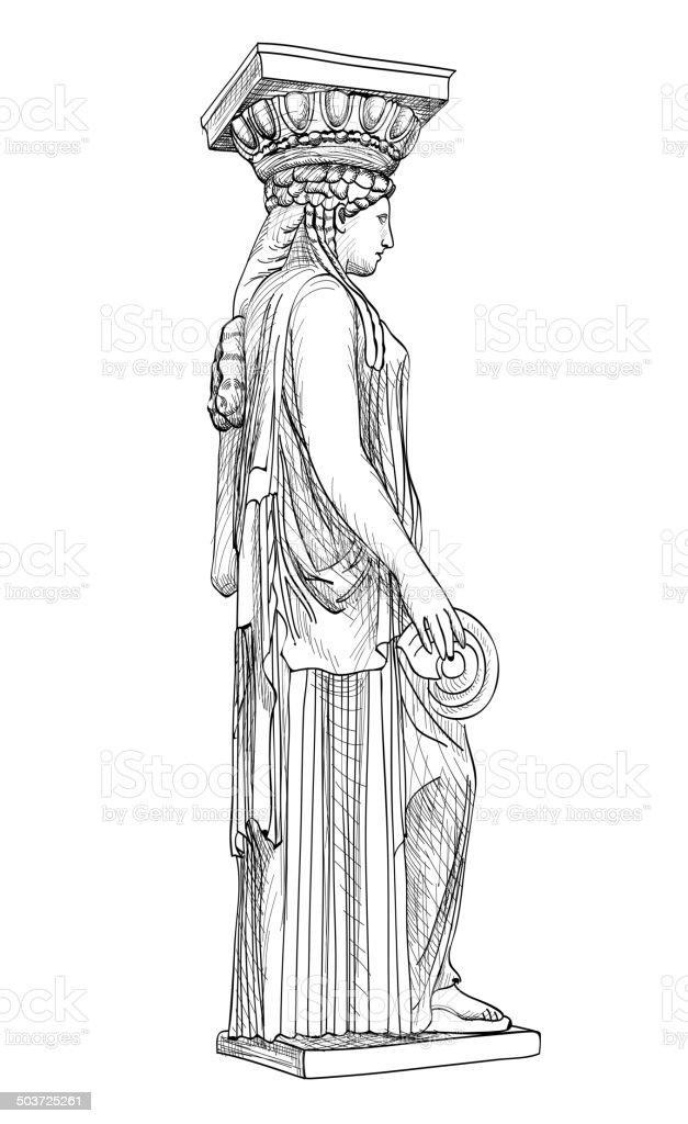 Caryatides squlpture. Pantheon column, Athens, Greece. vector art illustration