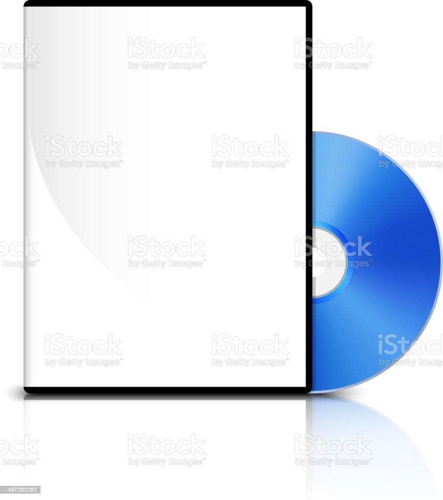 DVD case and DVD disk vector art illustration