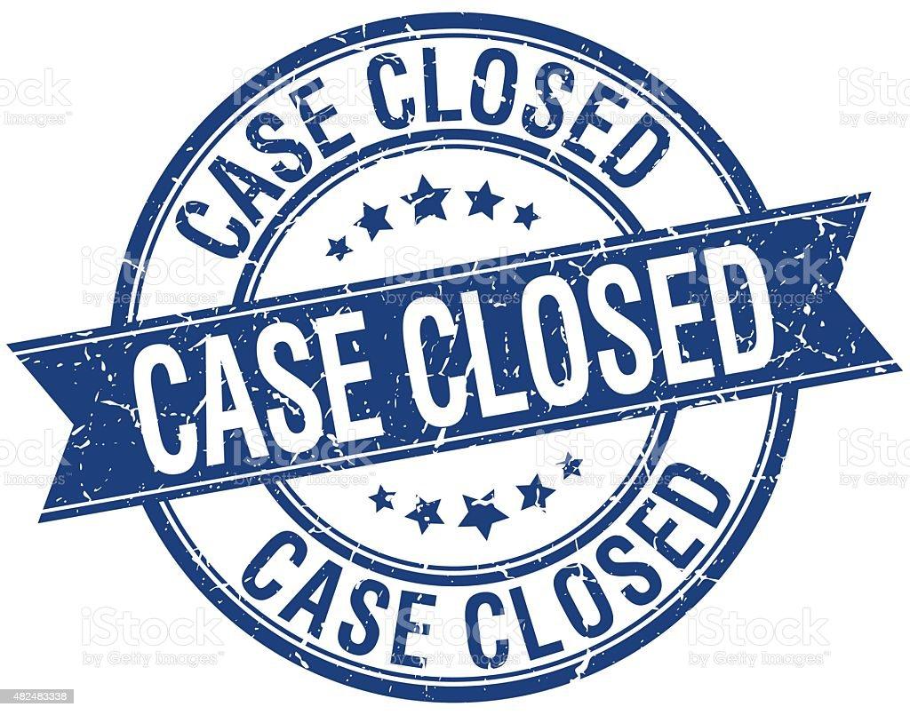 case closed grunge retro blue isolated ribbon stamp vector art illustration
