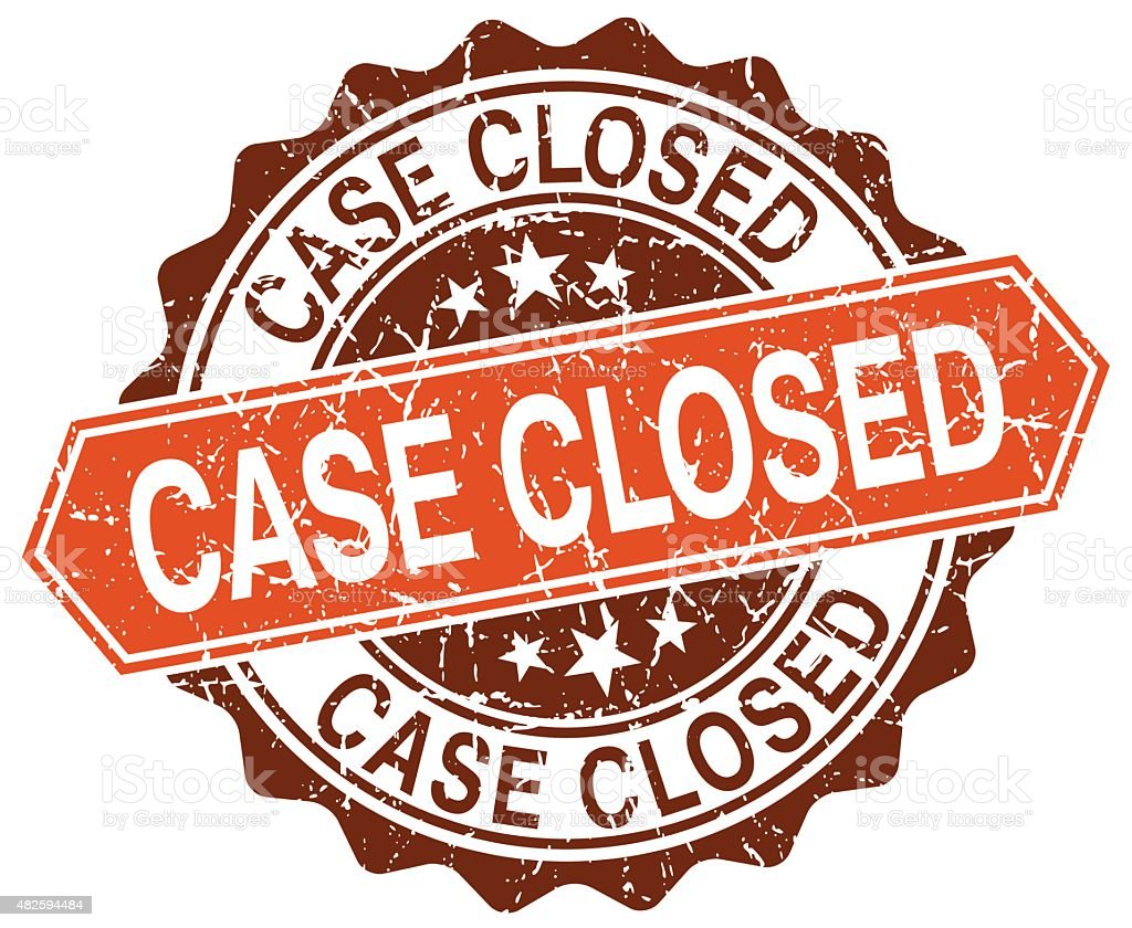 case closed orange round grunge stamp on white vector art illustration