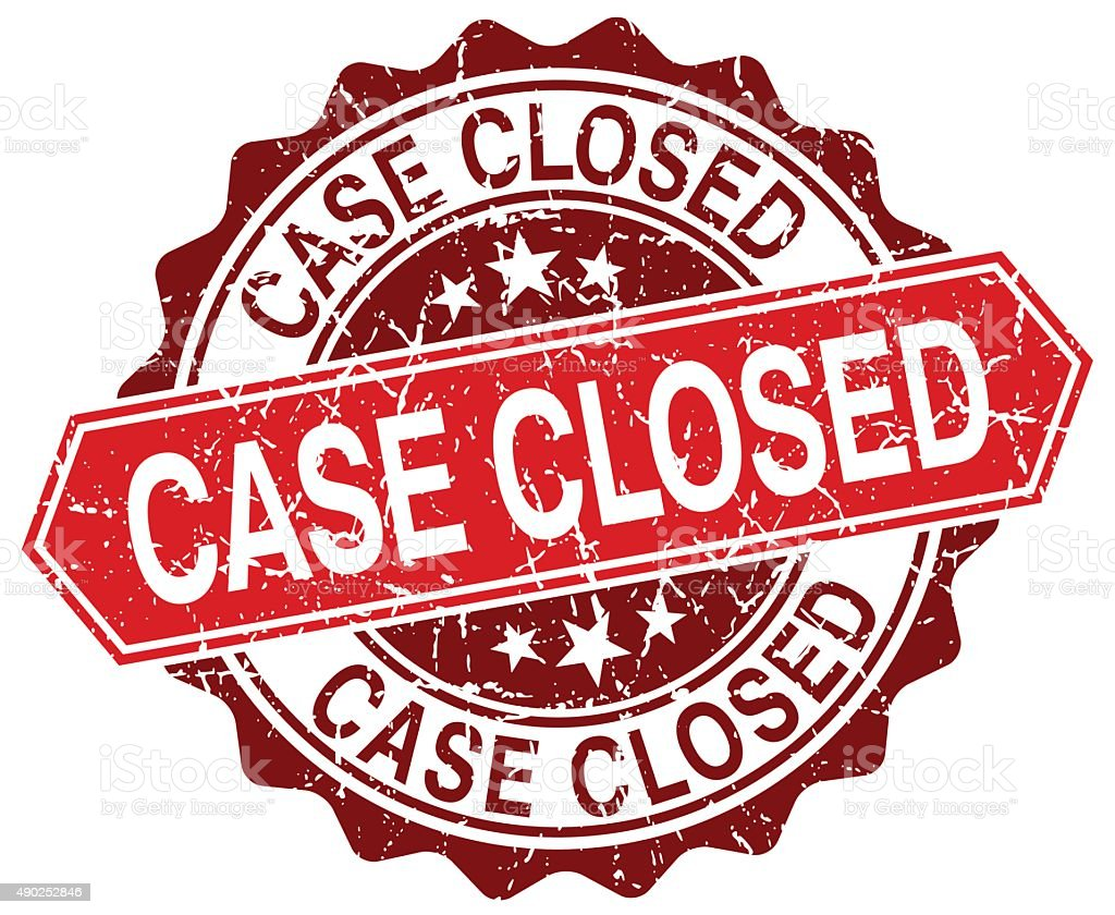 case closed red round grunge stamp on white vector art illustration