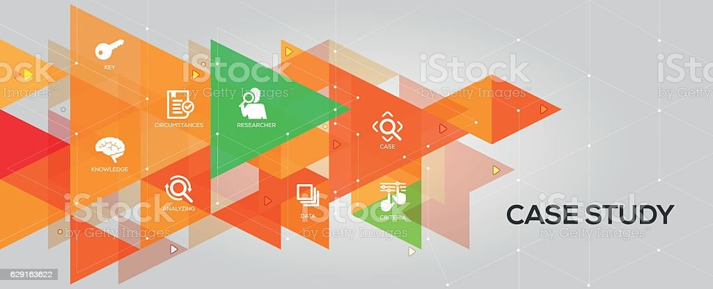 Case Study banner and icons vector art illustration