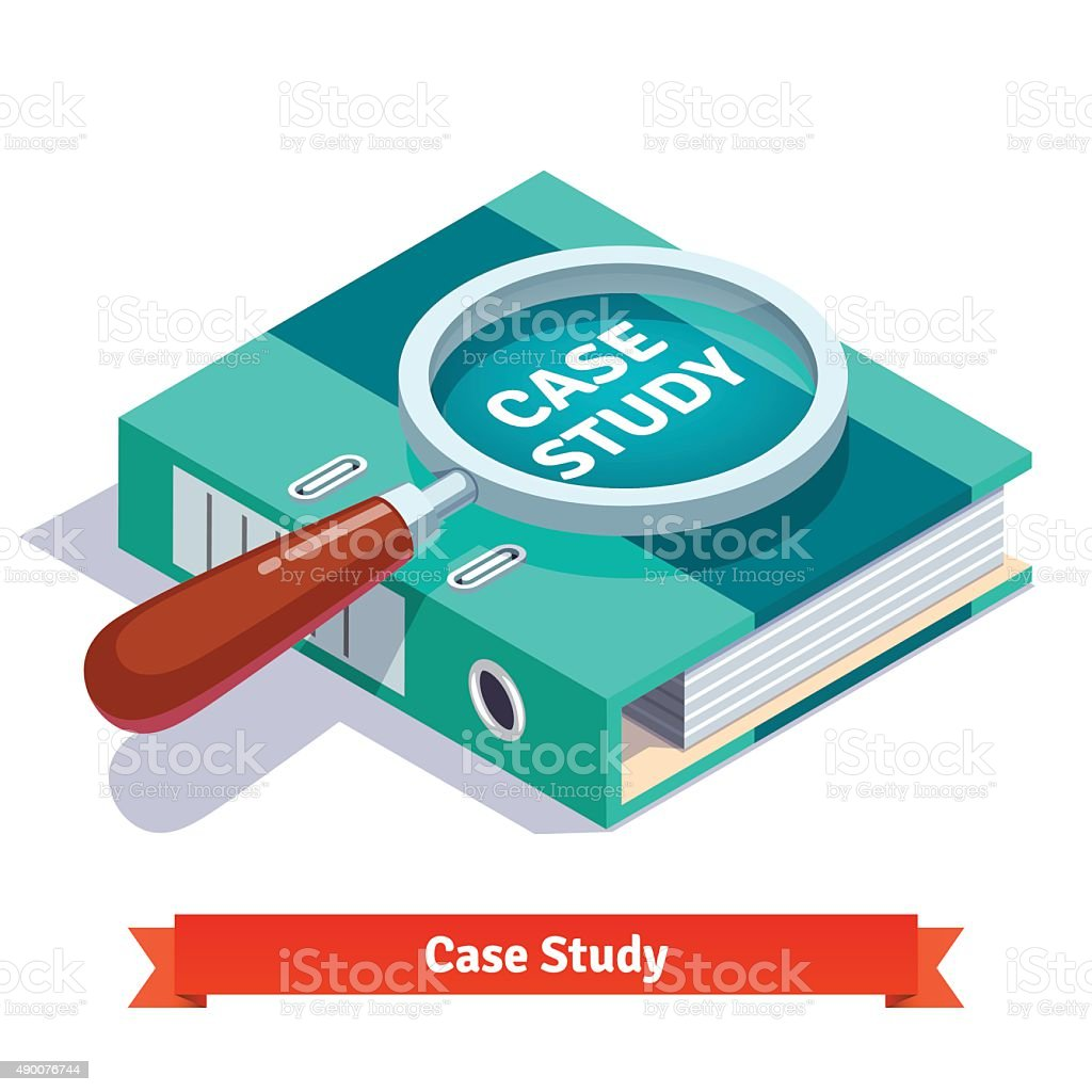 Case study concept. Magnifying glass on document vector art illustration