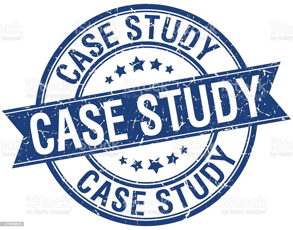 case study grunge retro blue isolated ribbon stamp vector art illustration