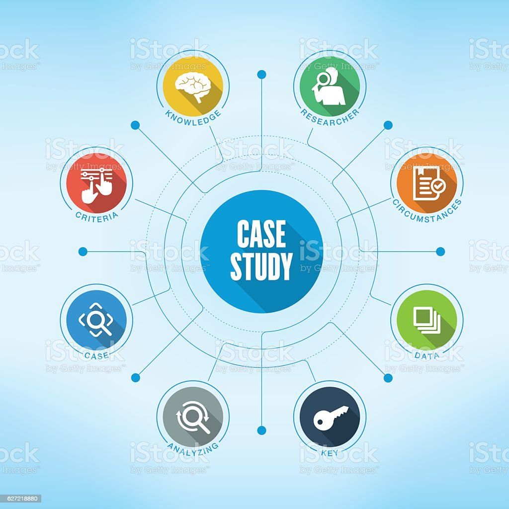 Case Study keywords with icons vector art illustration