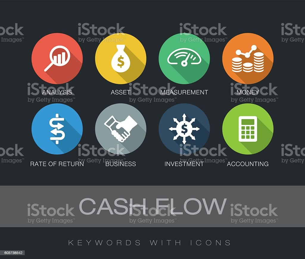Cash Flow keywords with icons vector art illustration