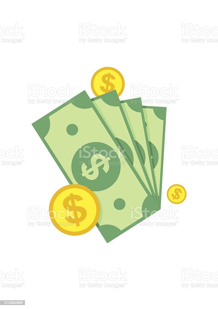 Cash, Green Dollars, Coin Icon isolated on white background. Money vector art illustration