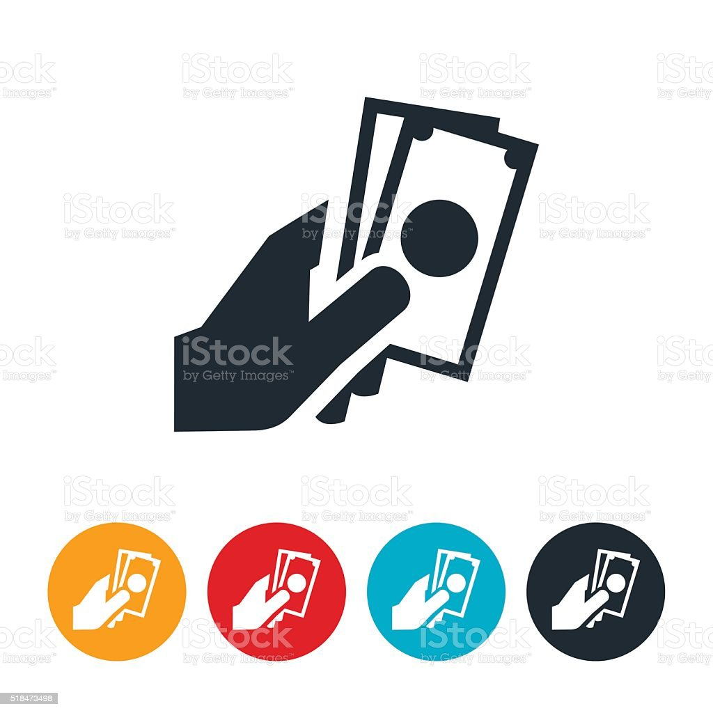 Cash In Hand Icon vector art illustration