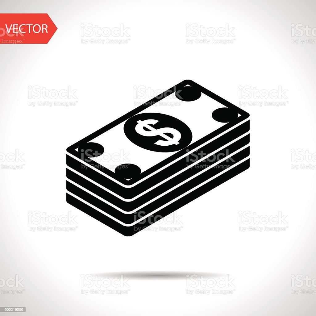 Cash money banknotes vector flat icon vector art illustration