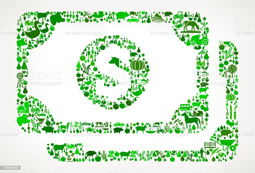 Cash Money Farming and Agriculture Green Icon Pattern vector art illustration