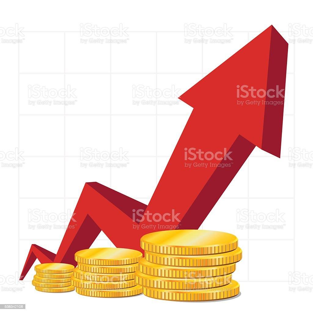 Cash on growth. Red Arrow. Coins. vector art illustration
