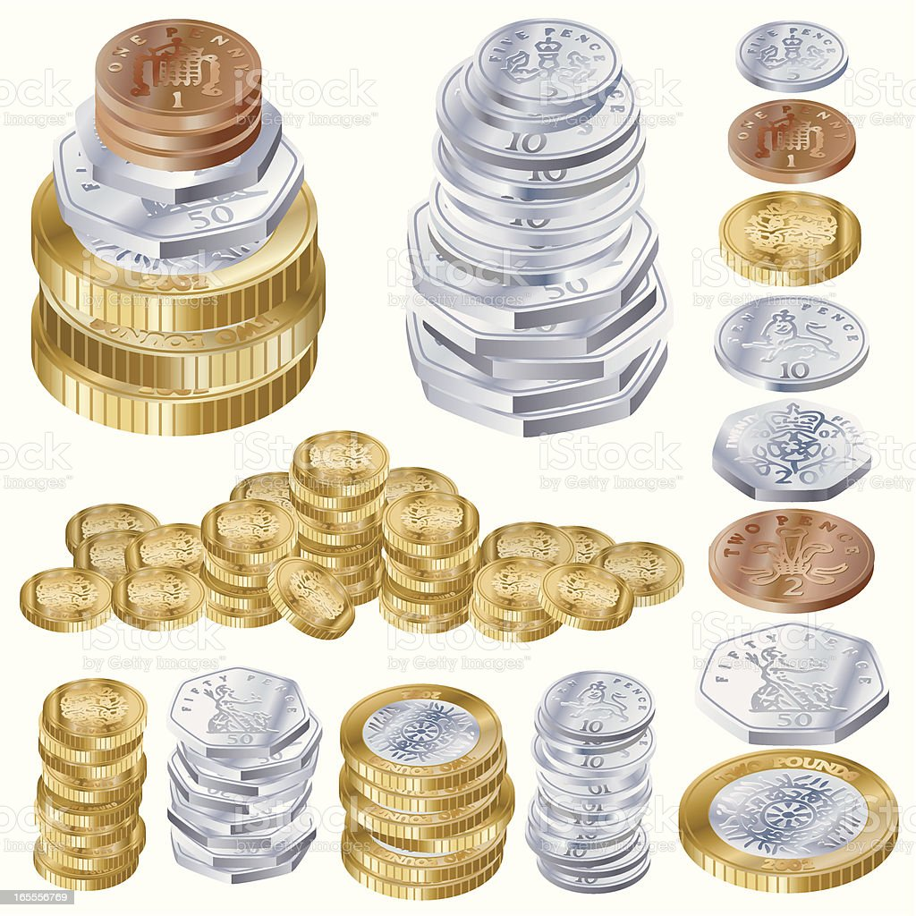 U.K. Cash Pile vector art illustration