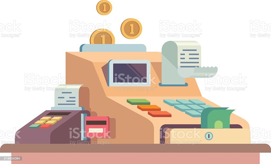 Cash register apparatus vector art illustration