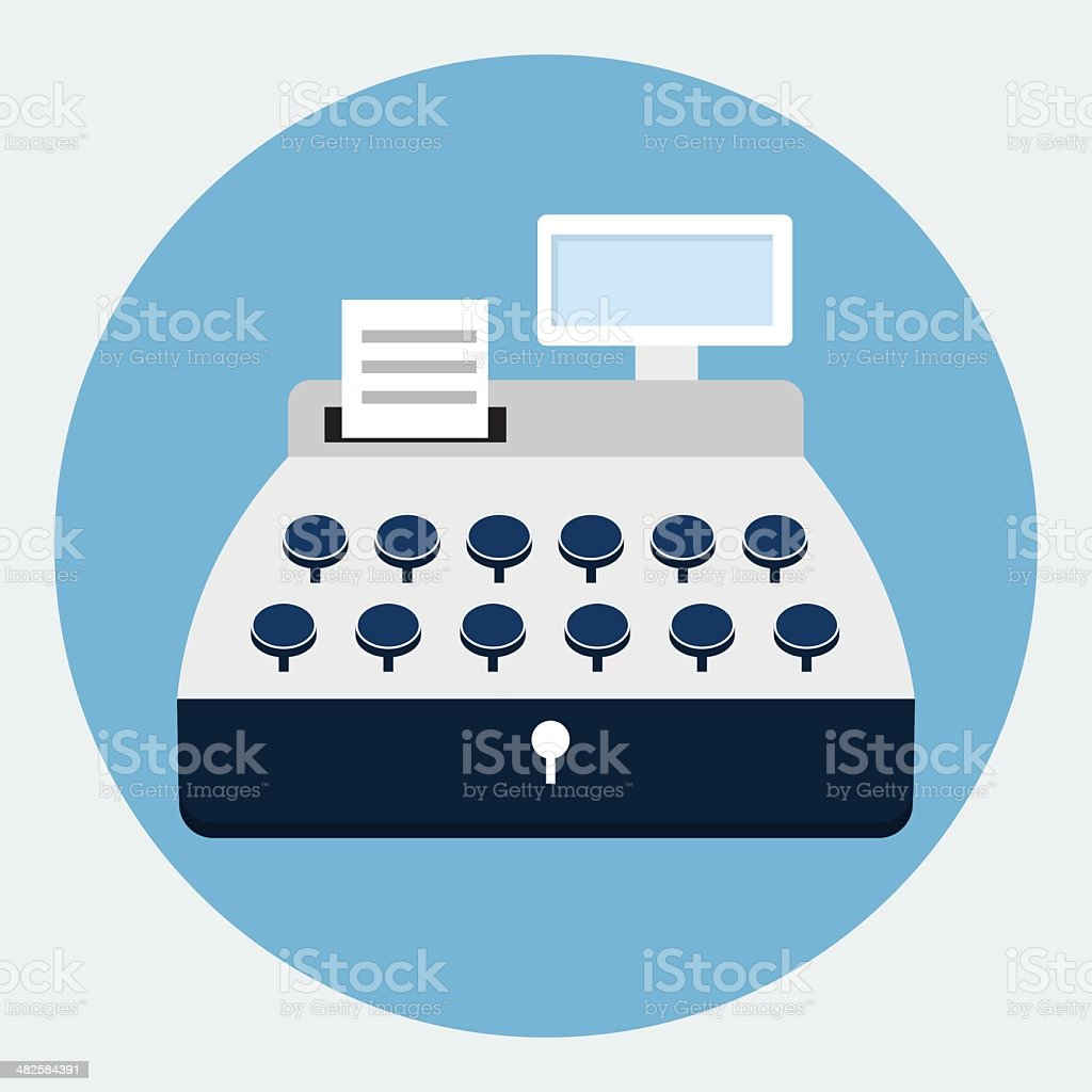 Cash register flat icon vector art illustration