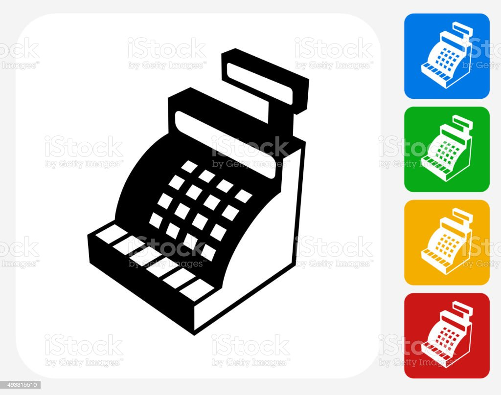 Cash Register Icon Flat Graphic Design vector art illustration
