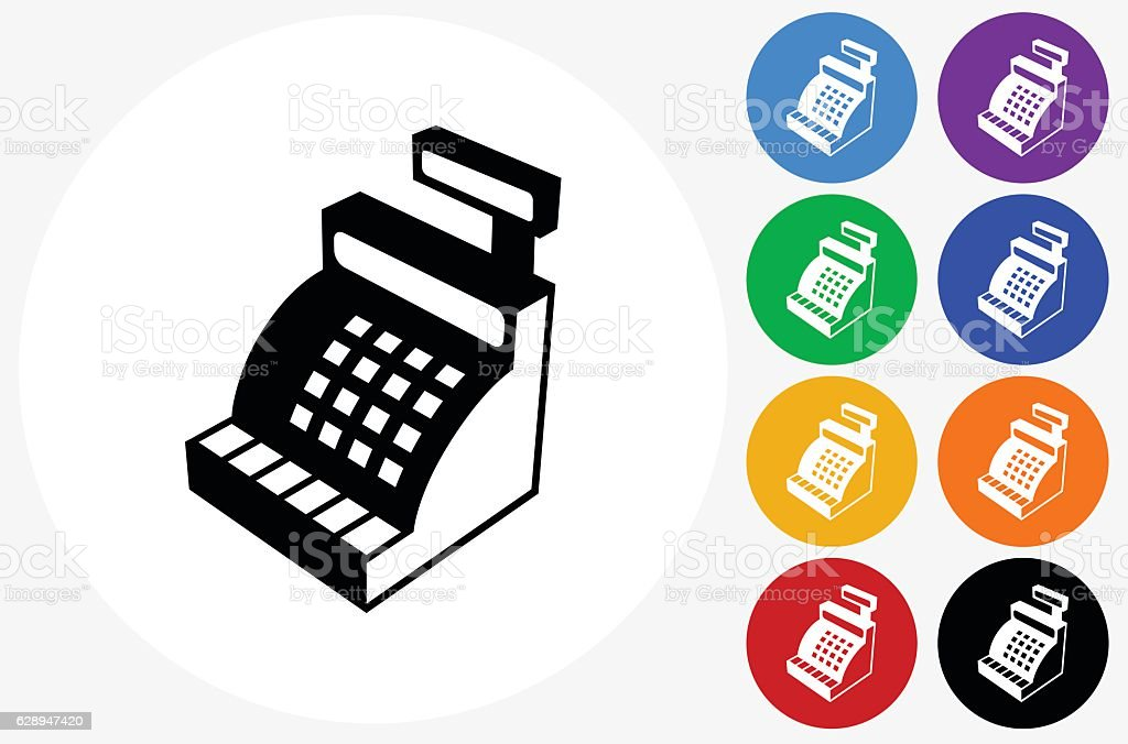 Cash Register Icon on Flat Color Circle Buttons vector art illustration