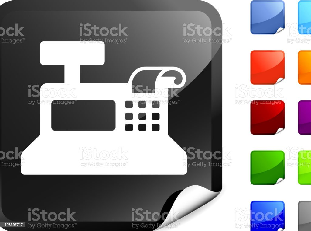 cash register icon on sticker royalty-free stock vector art