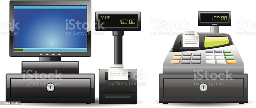 Cash Register icons | Classic series vector art illustration