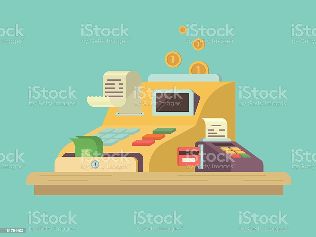 Cash register in flat style vector art illustration