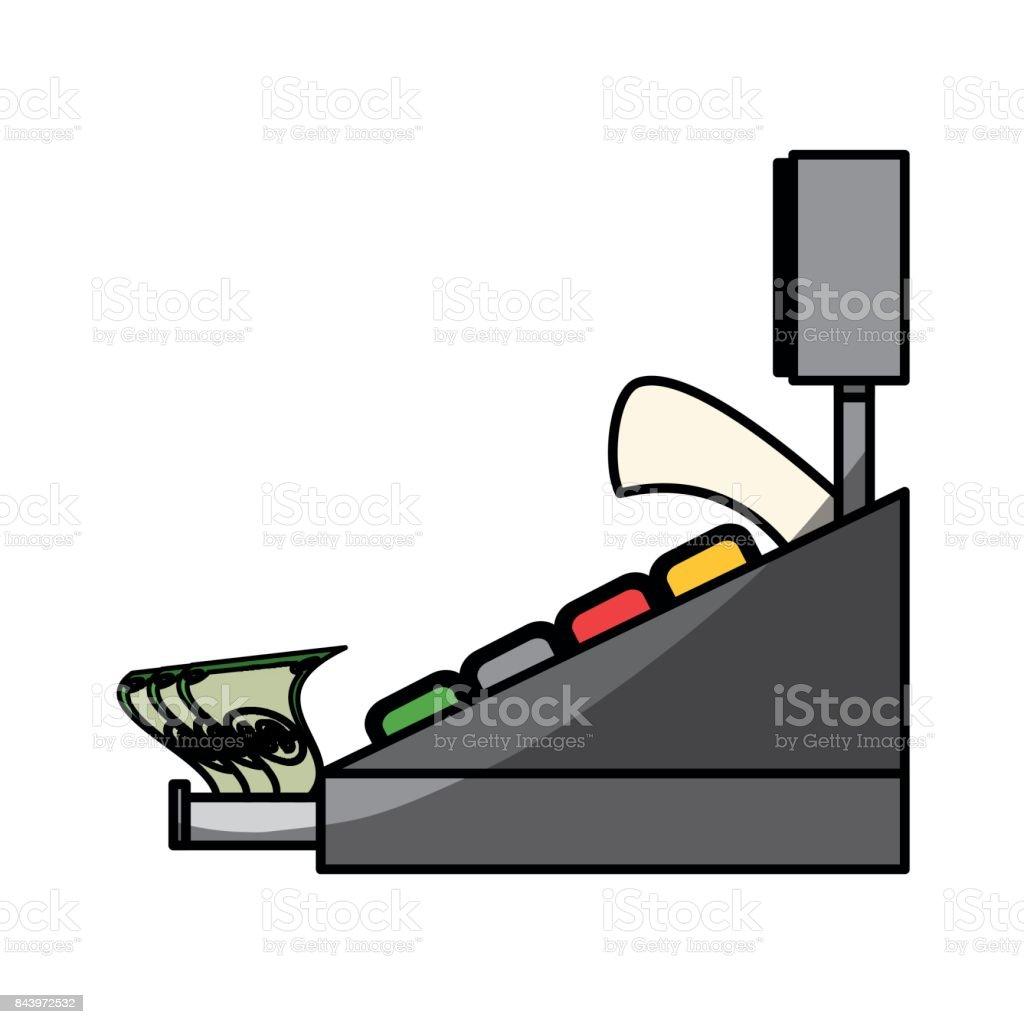 Cash register machine vector art illustration