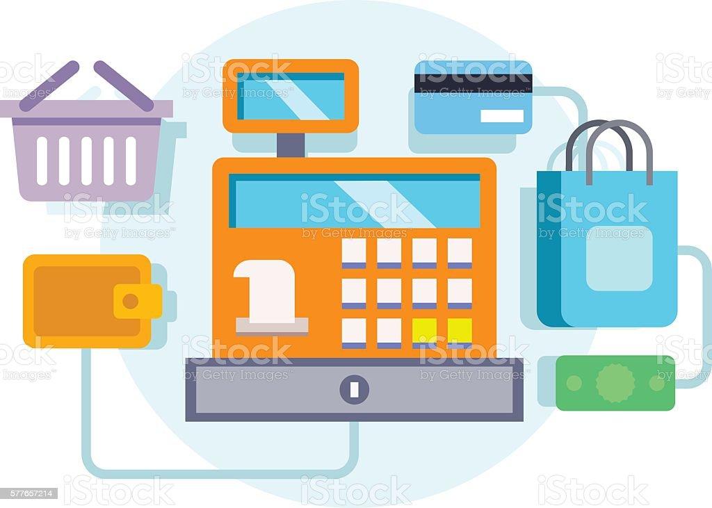 Cash register ocncept illustration vector art illustration