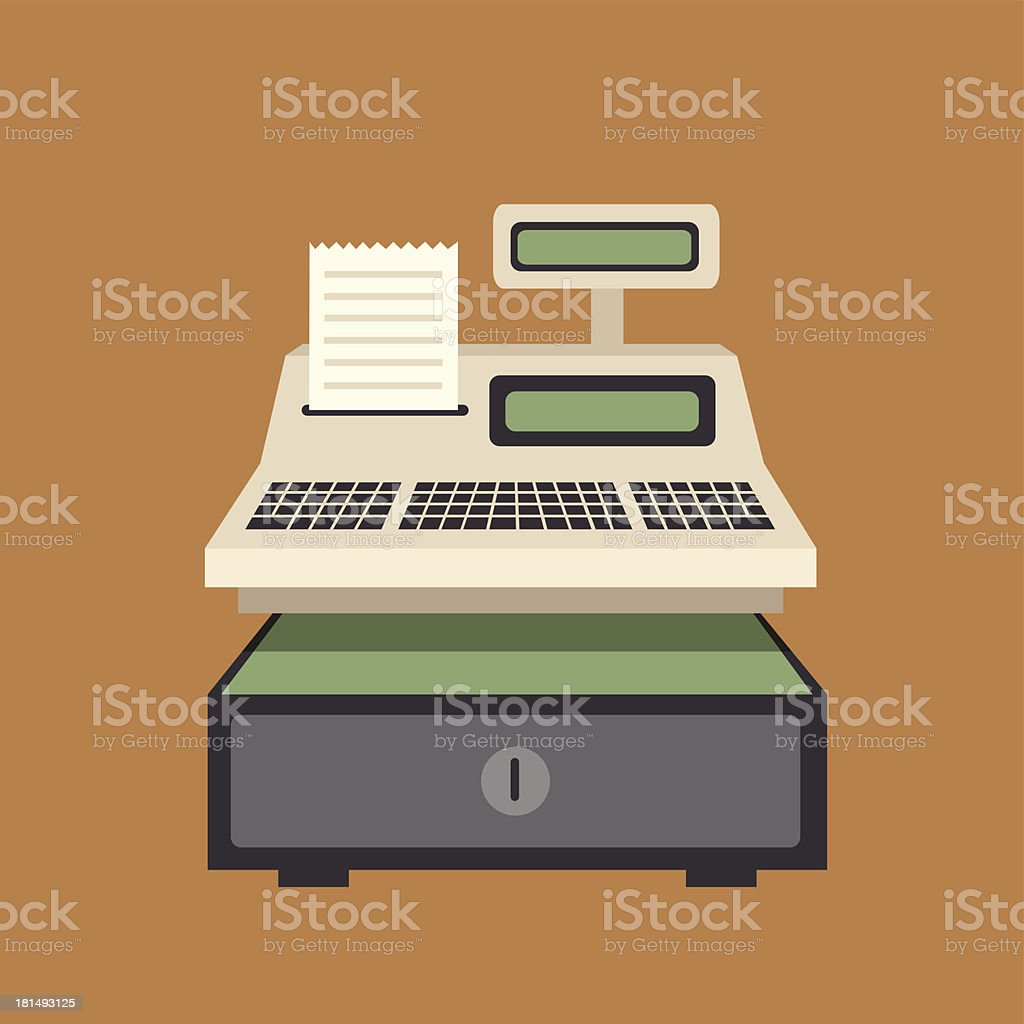 Cash register vector on brown background vector art illustration