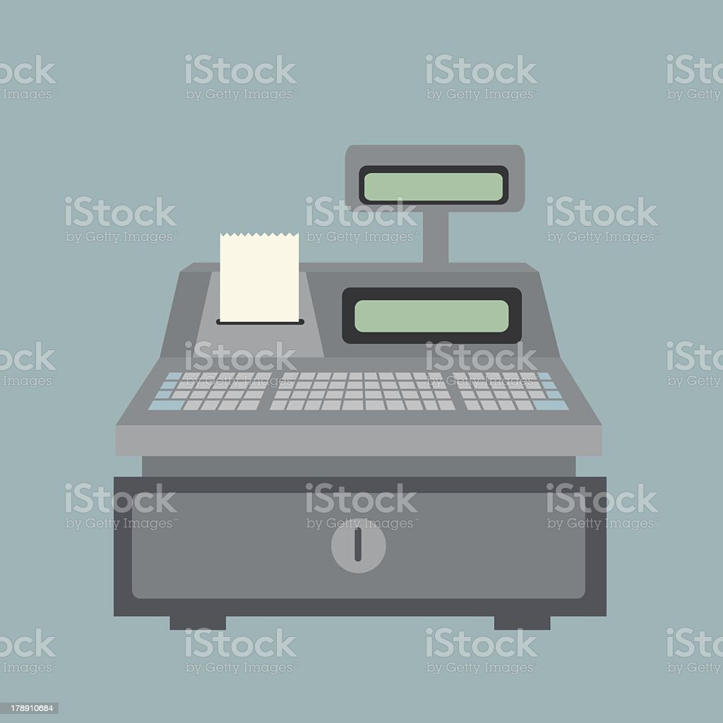Cash register with receipt against grey background vector art illustration