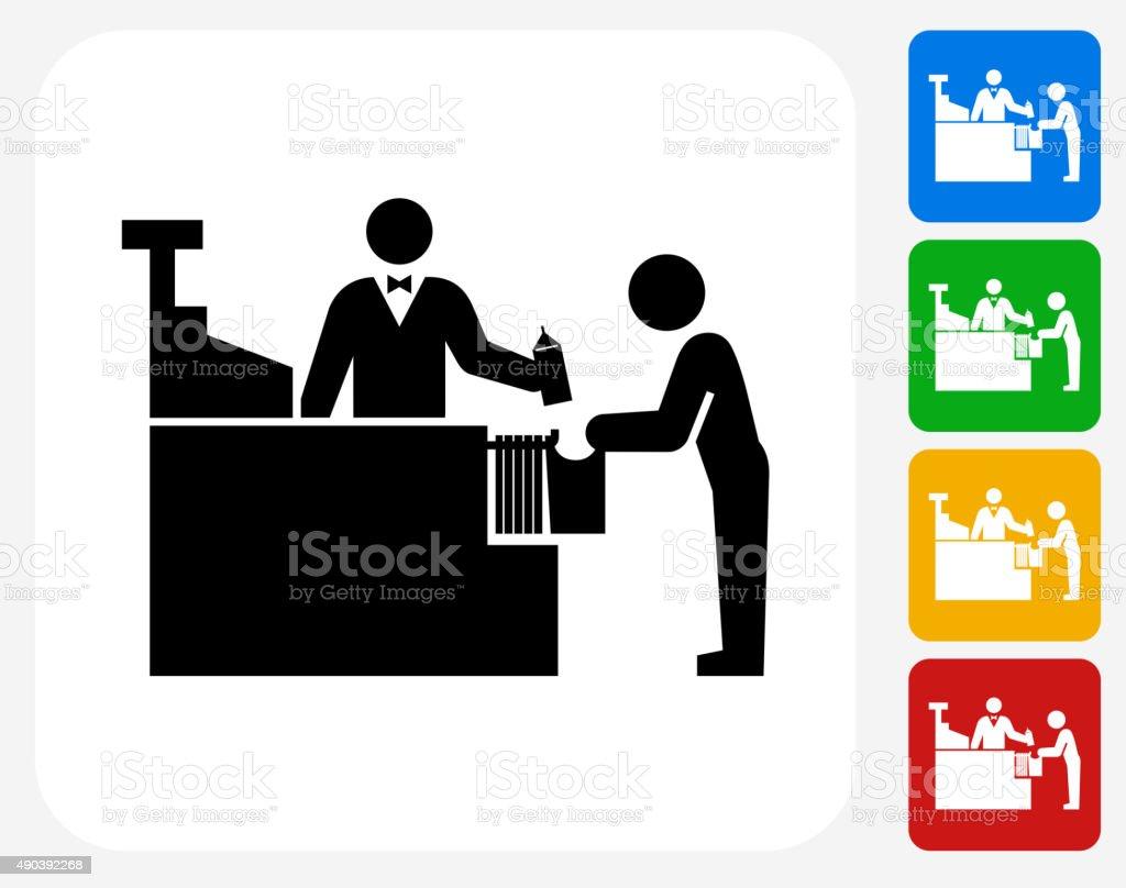 Cashier and Customer Icon Flat Graphic Design vector art illustration