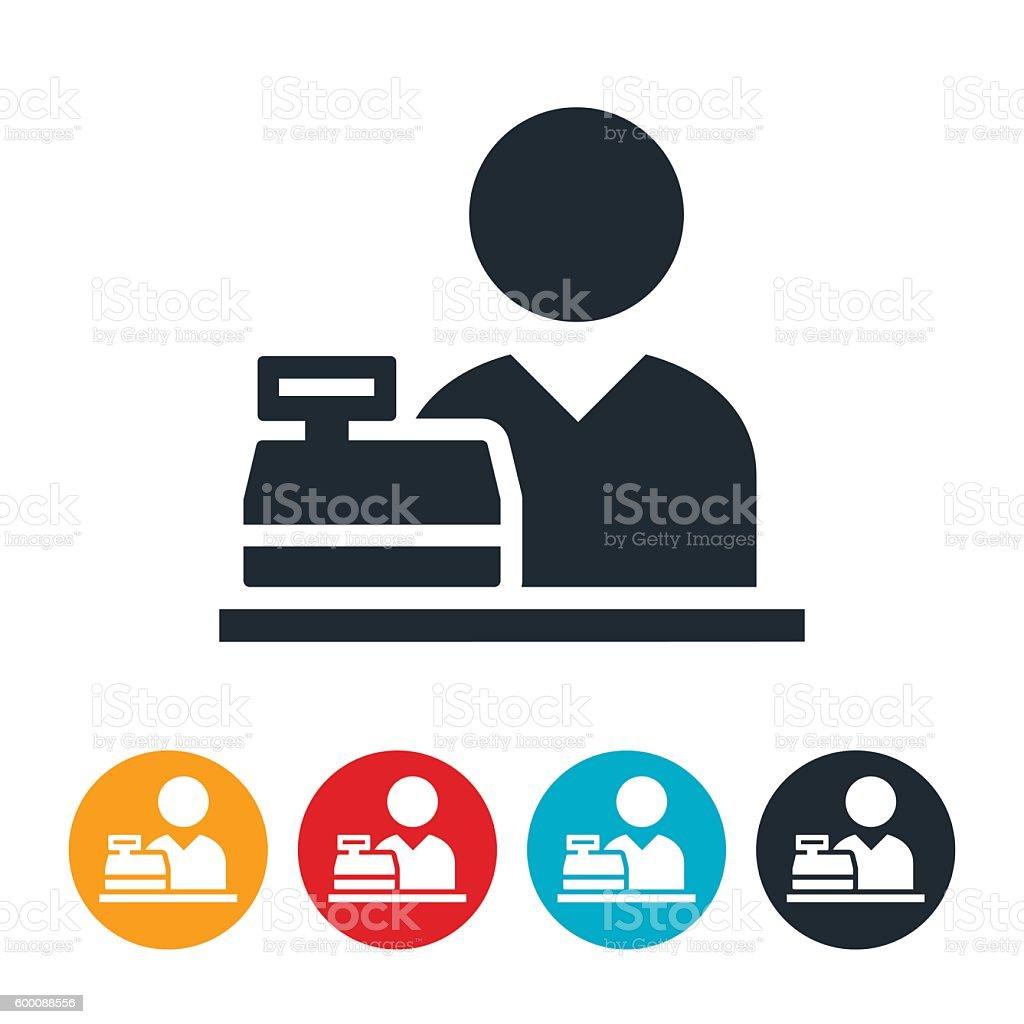 Cashier Behind Cash Register Icon vector art illustration