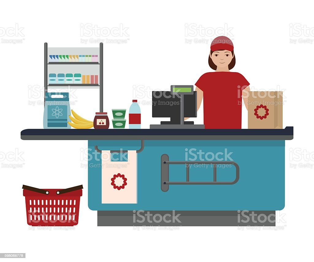 Cashier girl at supermarket vector art illustration