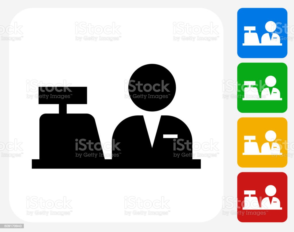 Cashier Icon Flat Graphic Design vector art illustration