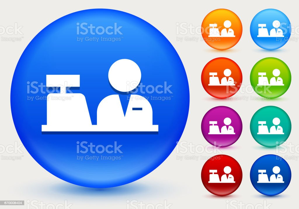 Cashier Icon on Shiny Color Circle Buttons vector art illustration