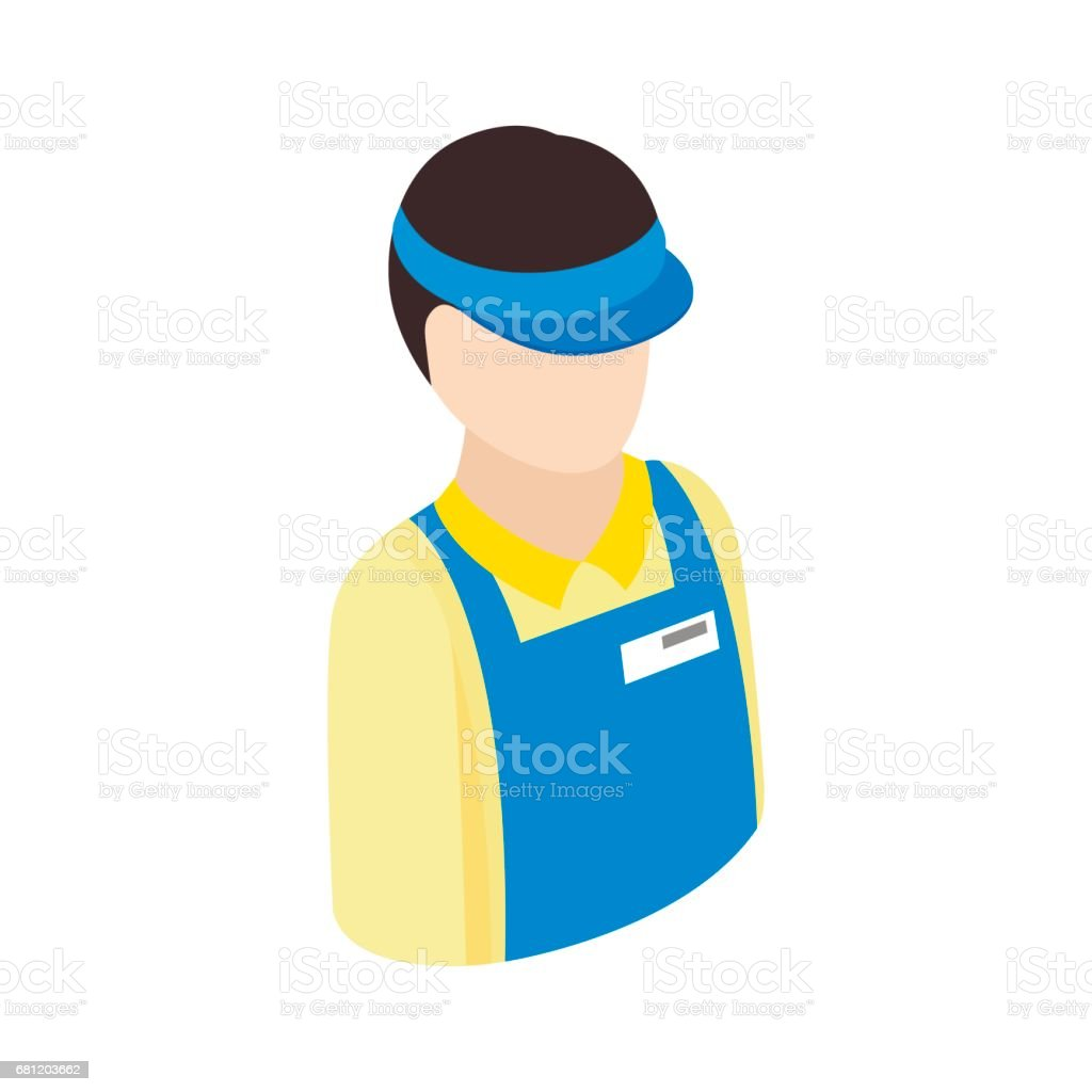 Cashier in supermarket icon, isometric 3d style vector art illustration