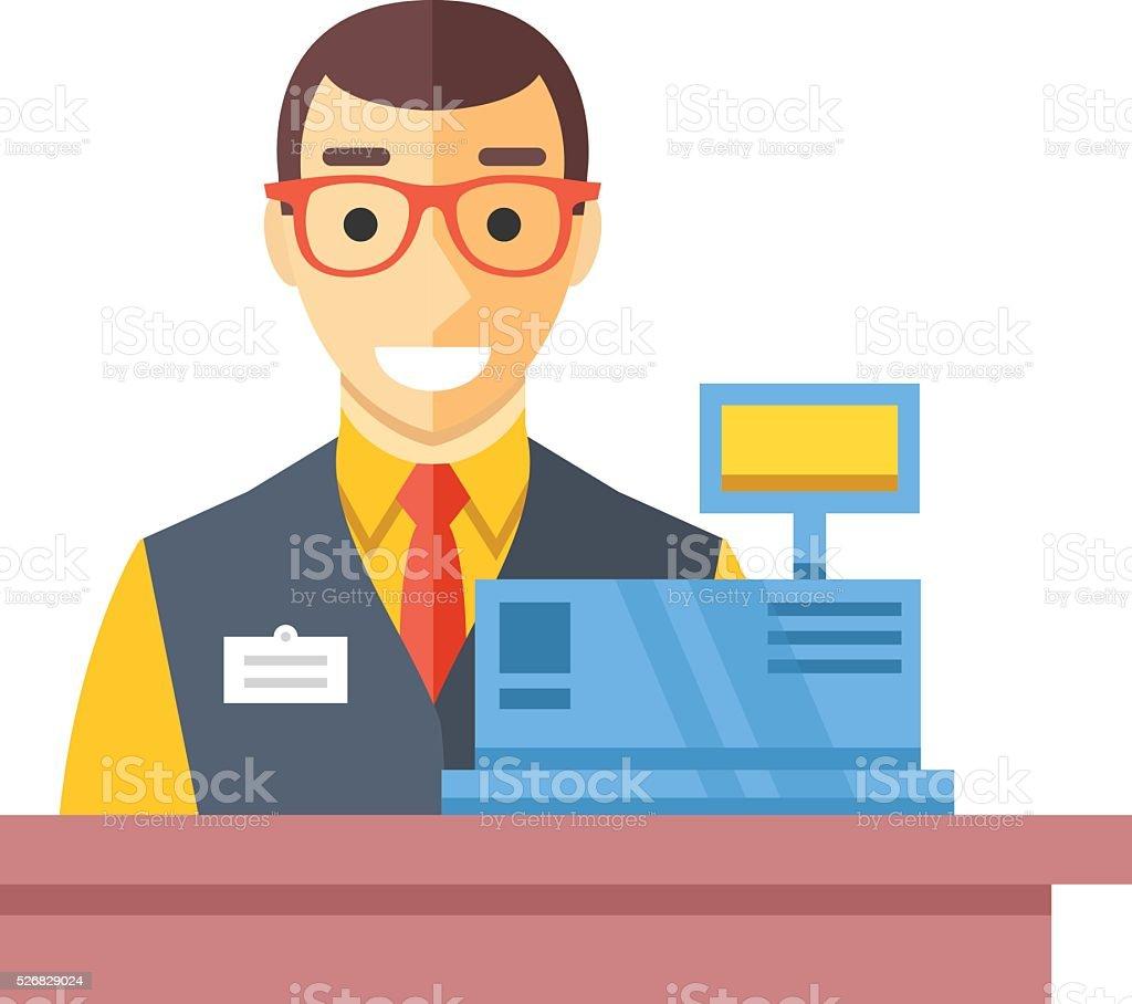 Cashier man at checkout counter. Counter desk, cash register, clerk vector art illustration