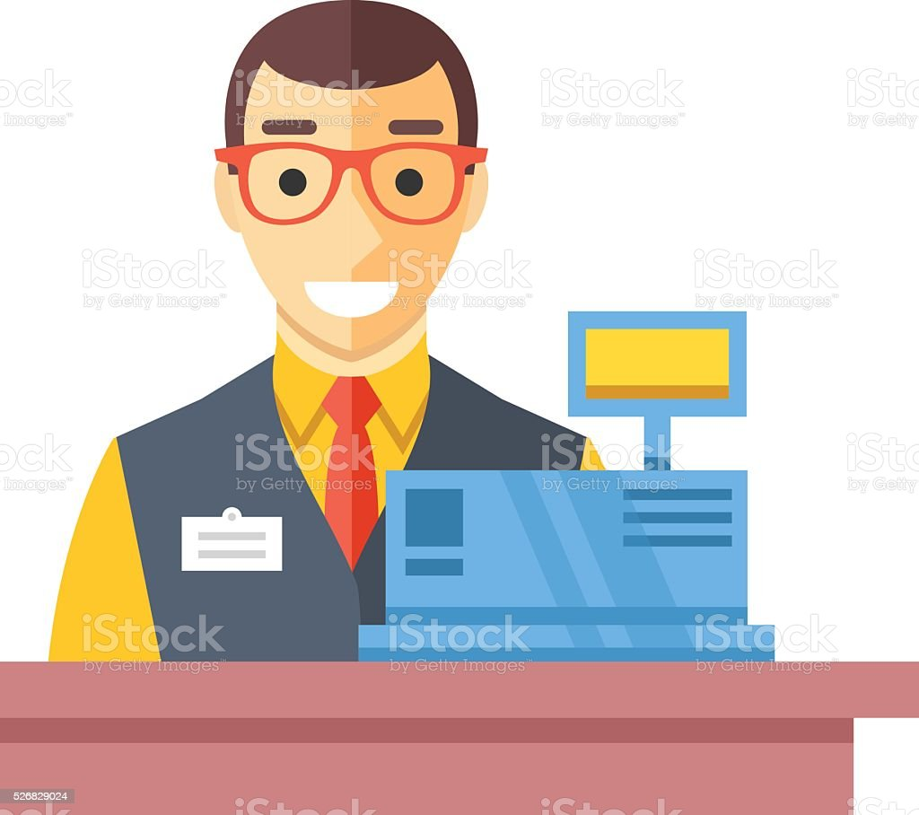 Cashier man at checkout counter. Counter desk, cash register, clerk vector art illustration