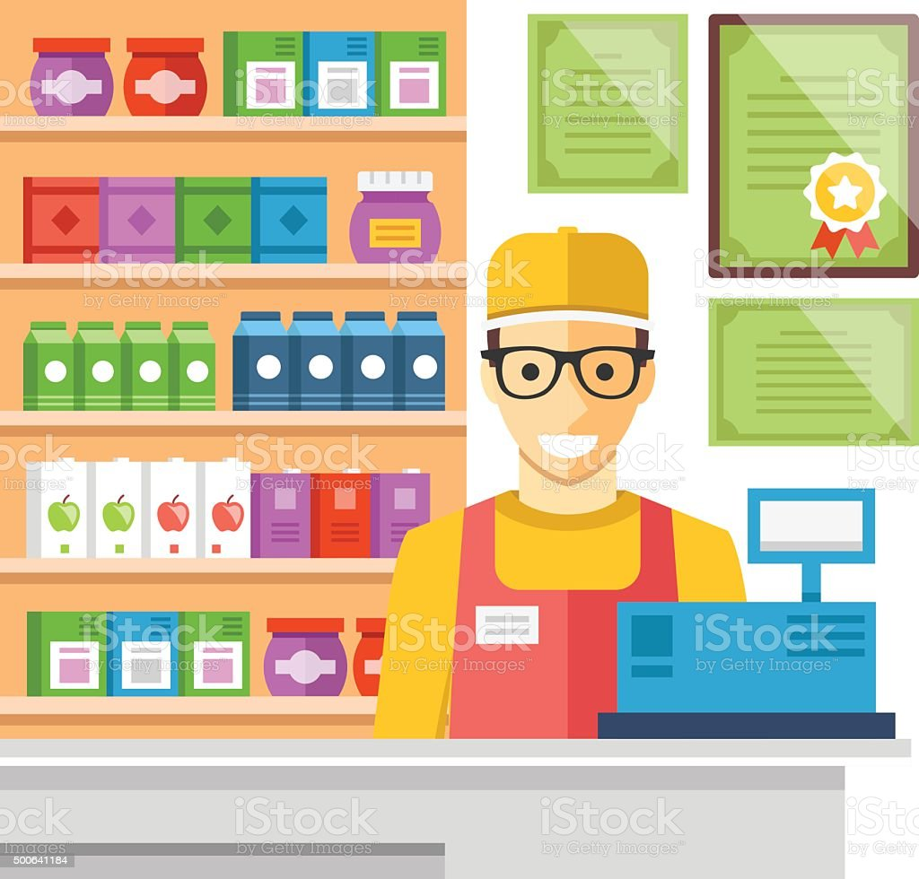 Cashier man at supermarket checkout. Flat vector illustration vector art illustration