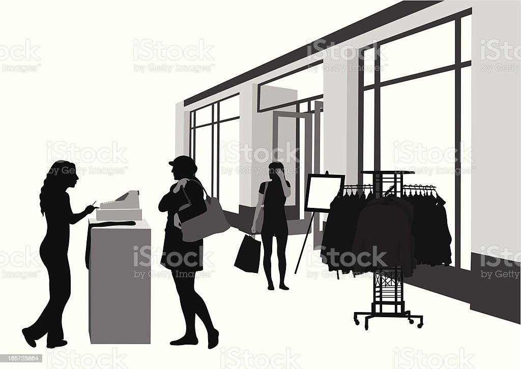 Cashier Shop Vector Silhouette royalty-free stock vector art