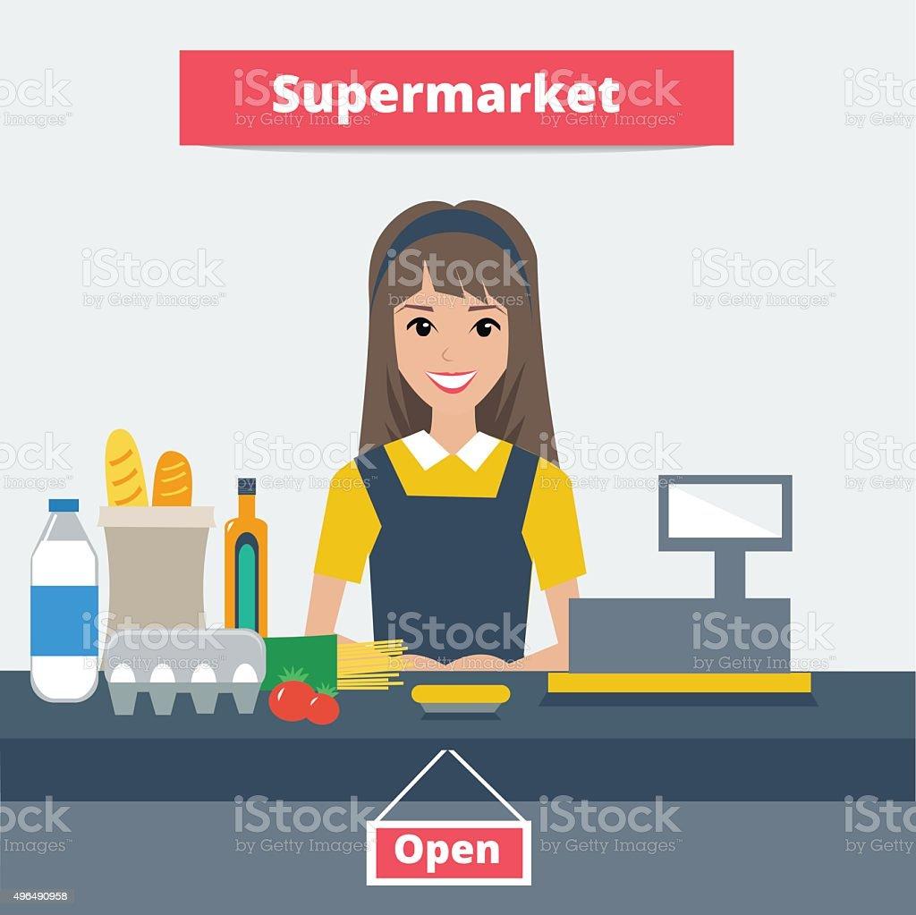 Cashier vector art illustration