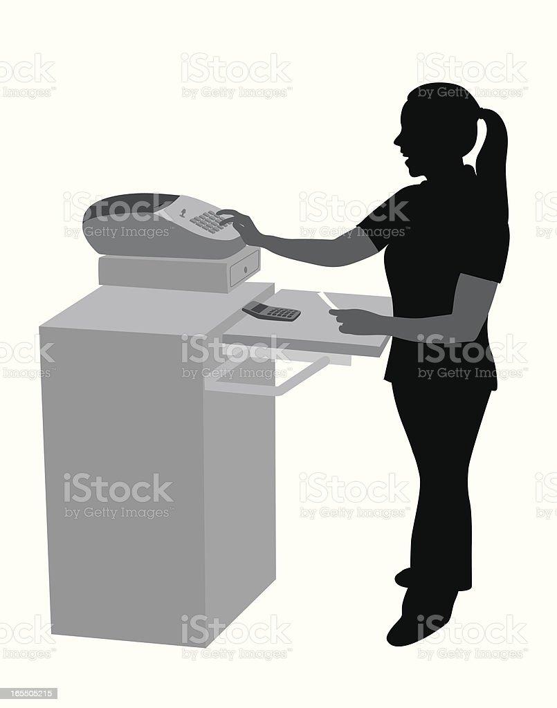 Cashier Vector Silhouette vector art illustration