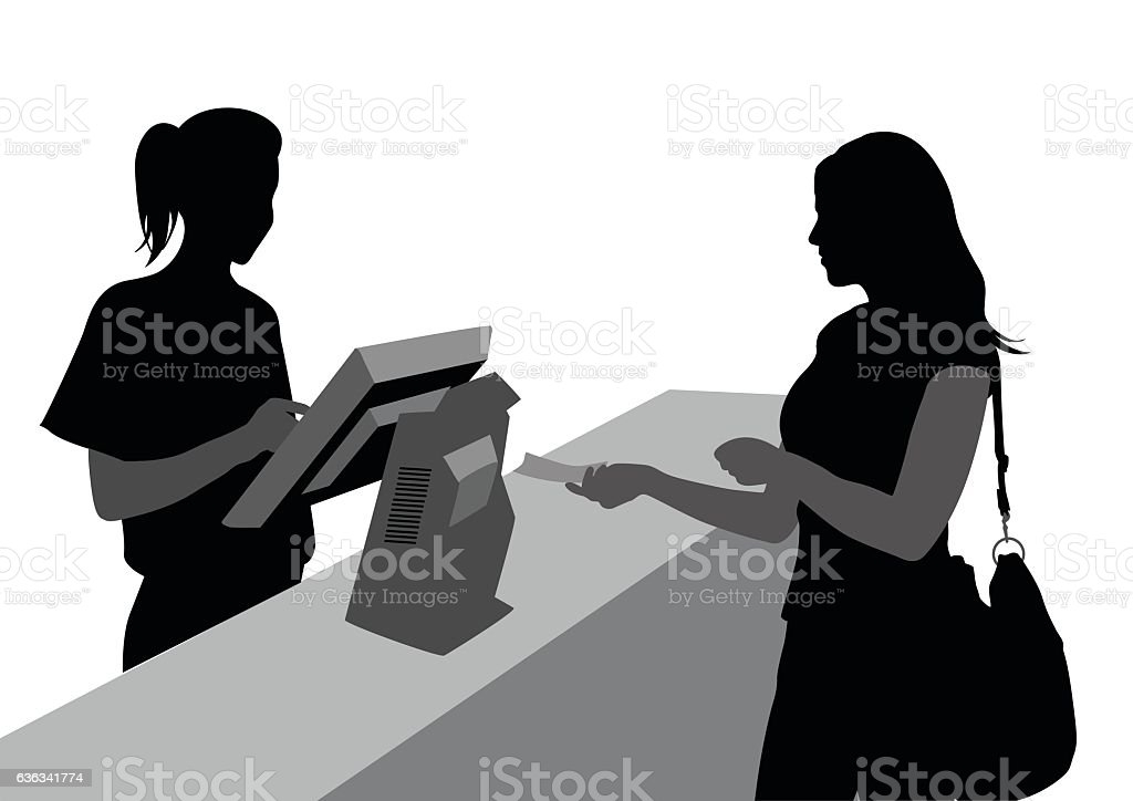 Cashiers And Customers vector art illustration