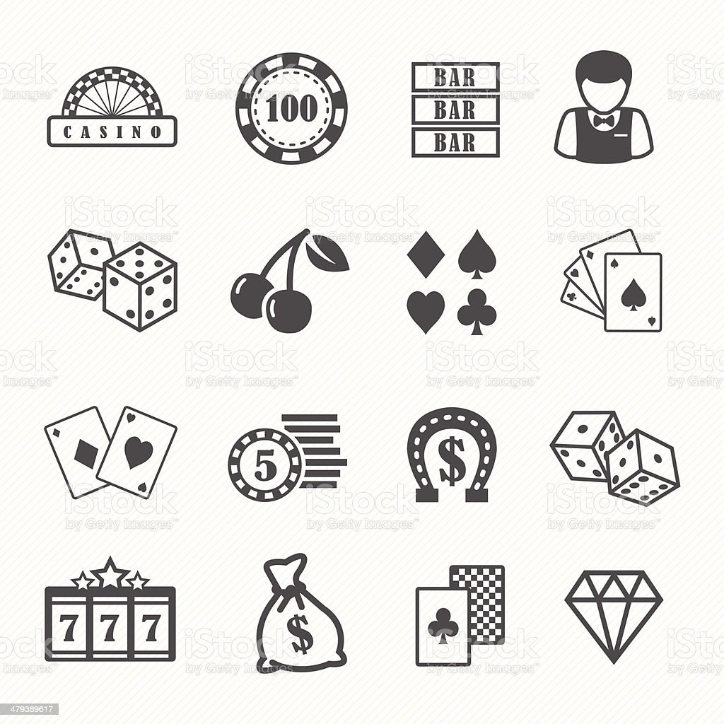 Casino and gambling vector icons set vector art illustration
