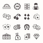 Casino and gambling vector icons set