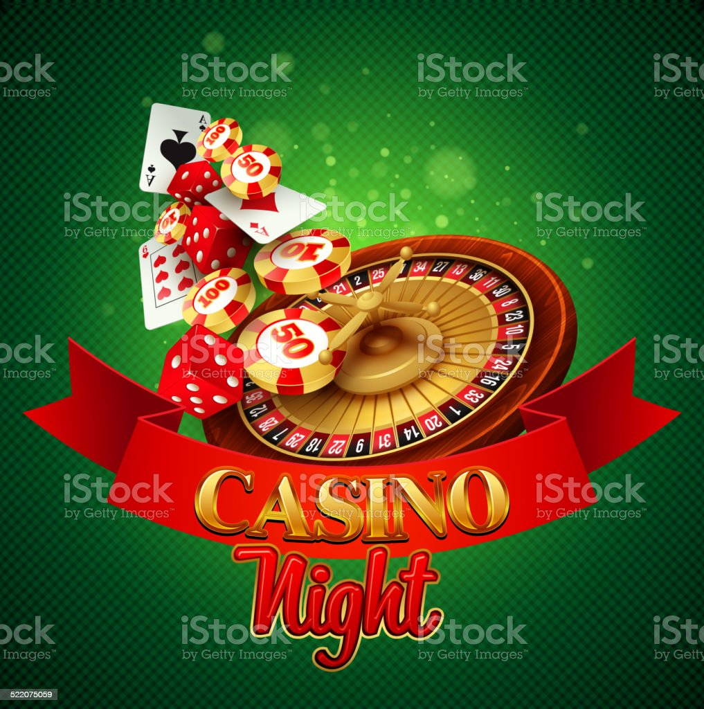 Casino background with cards, chips, craps and roulette. Vector illustration vector art illustration