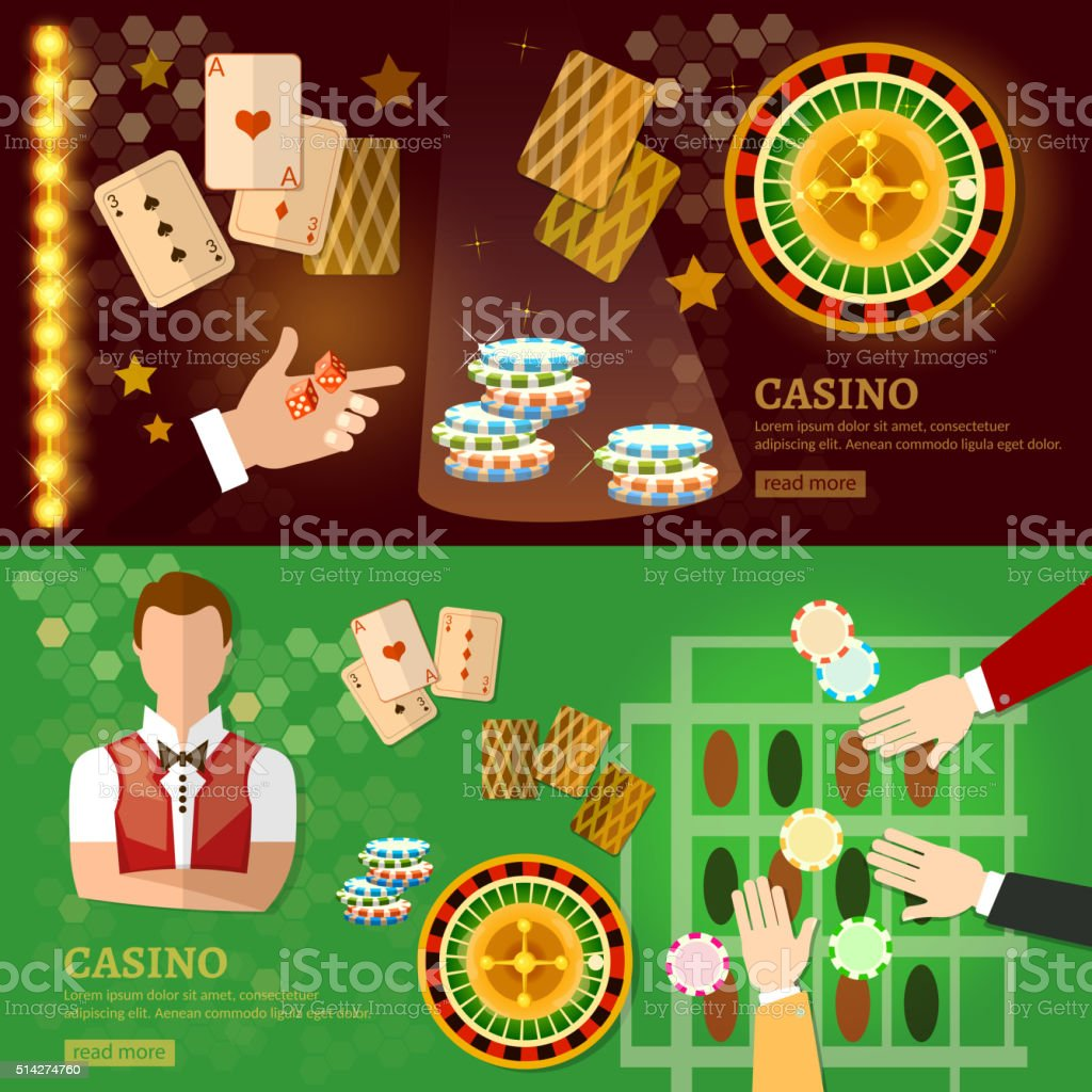 Casino banner design with slots and roulette vector art illustration