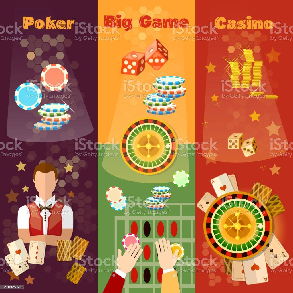 Casino banner poker game playing cards roulette vector art illustration