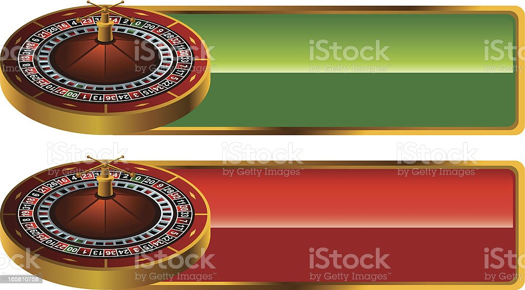 Casino banners with 3D Roulette royalty-free stock vector art