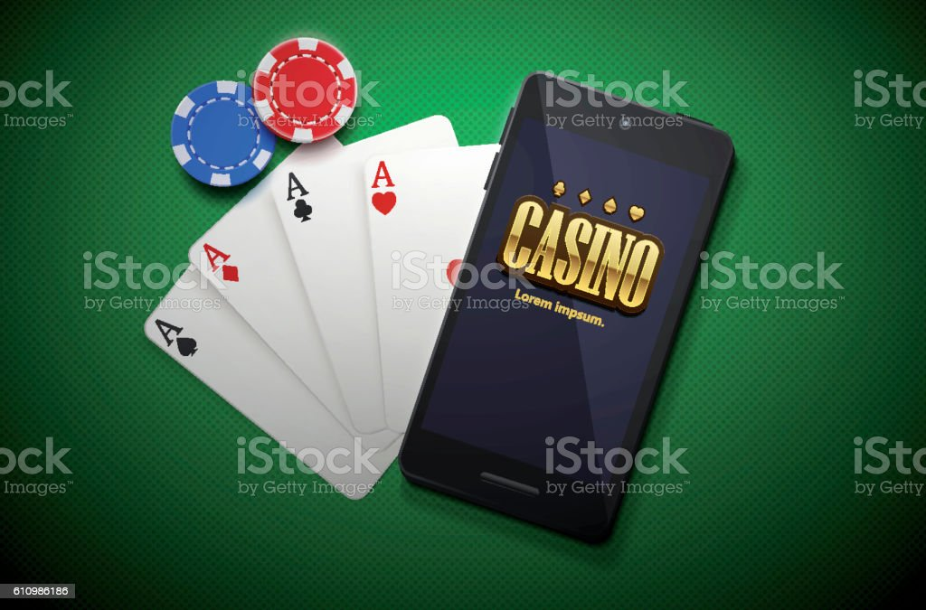 casino chips and mobile isolated on green background vector art illustration
