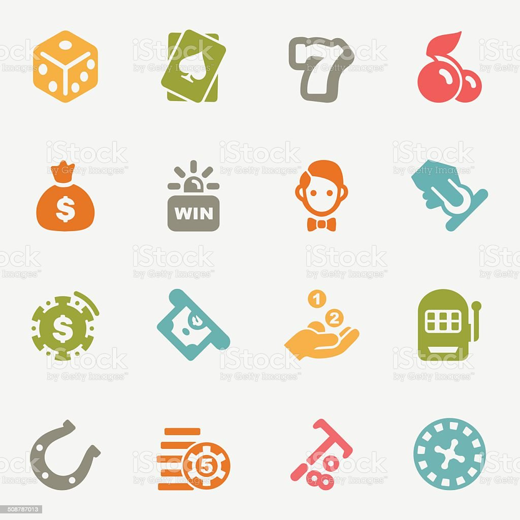 Casino color variations icons   EPS10 vector art illustration
