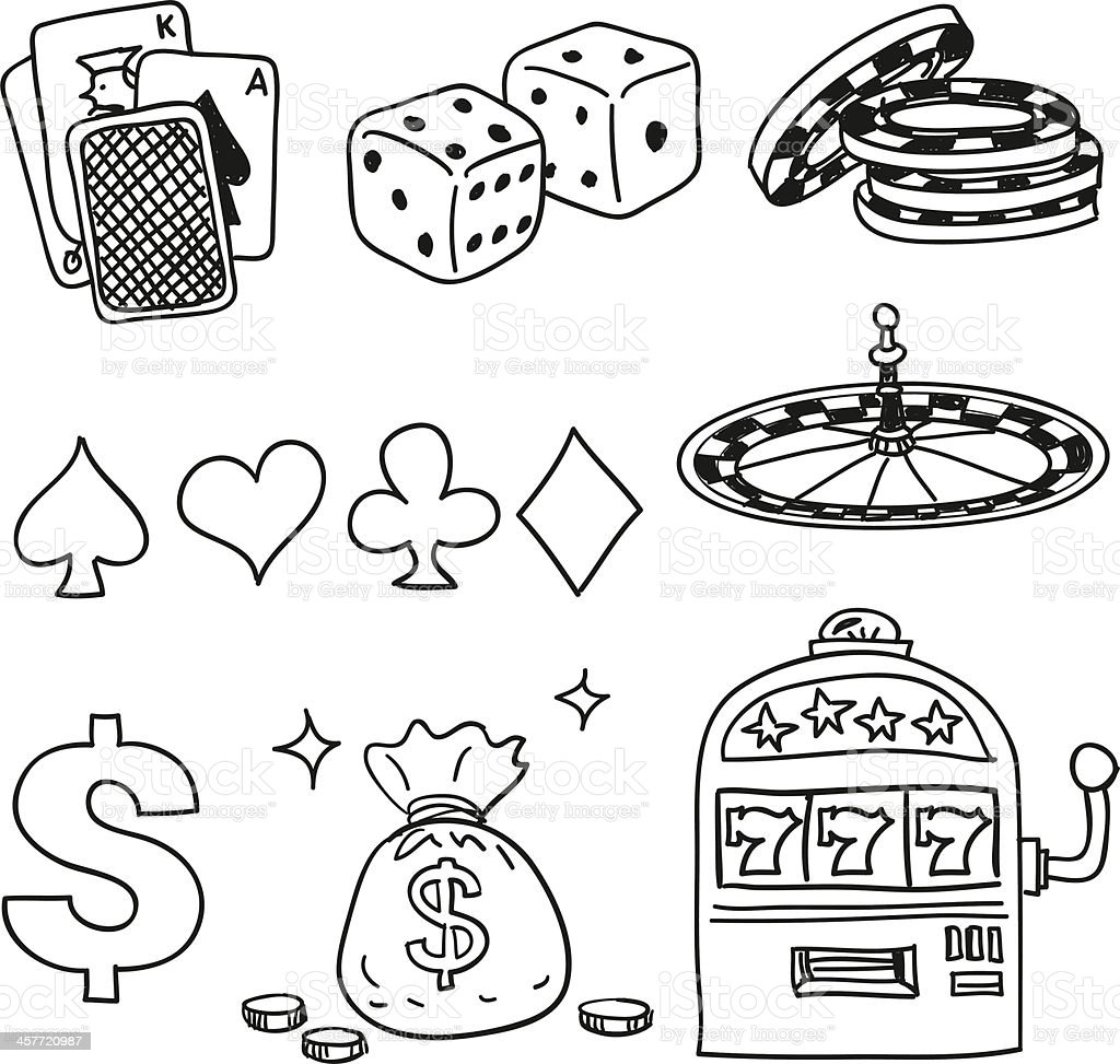 Casino components icons in black white vector art illustration
